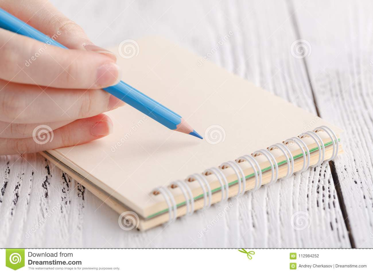 Female painting in notebook