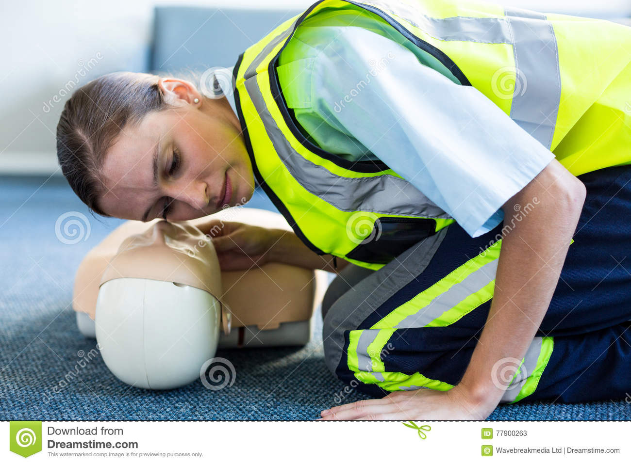 Download Female Paramedic During Cardiopulmonary Resuscitation Training Stock Image - Image of heart, practicing: 77900263