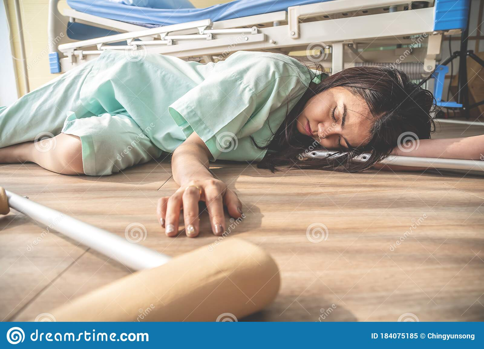 The Female Patient Fell Unconscious Lying On The Floor At ...