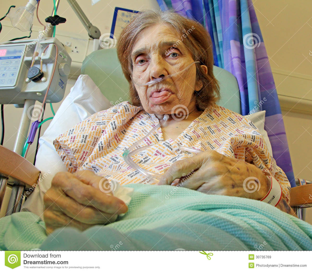 Female Patient On Oxygen Stock Image Image Of Disability
