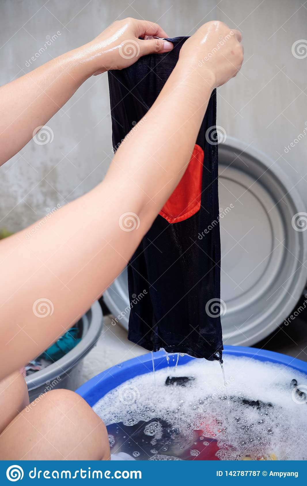 Female Person Hand Washing Clothes At Home Stock Image Image Of