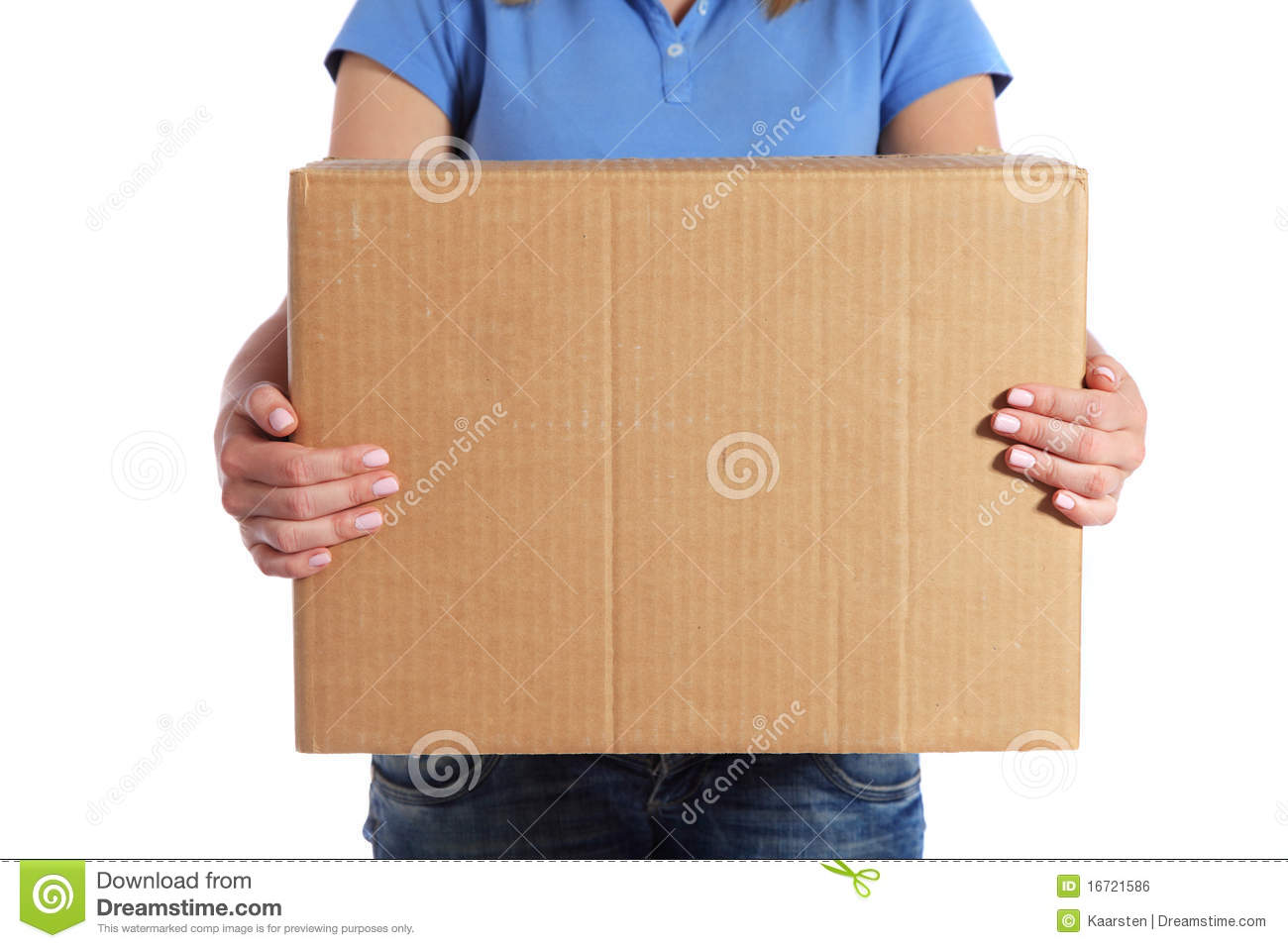 Female person holding a moving box royalty free stock for Used boxes for moving house