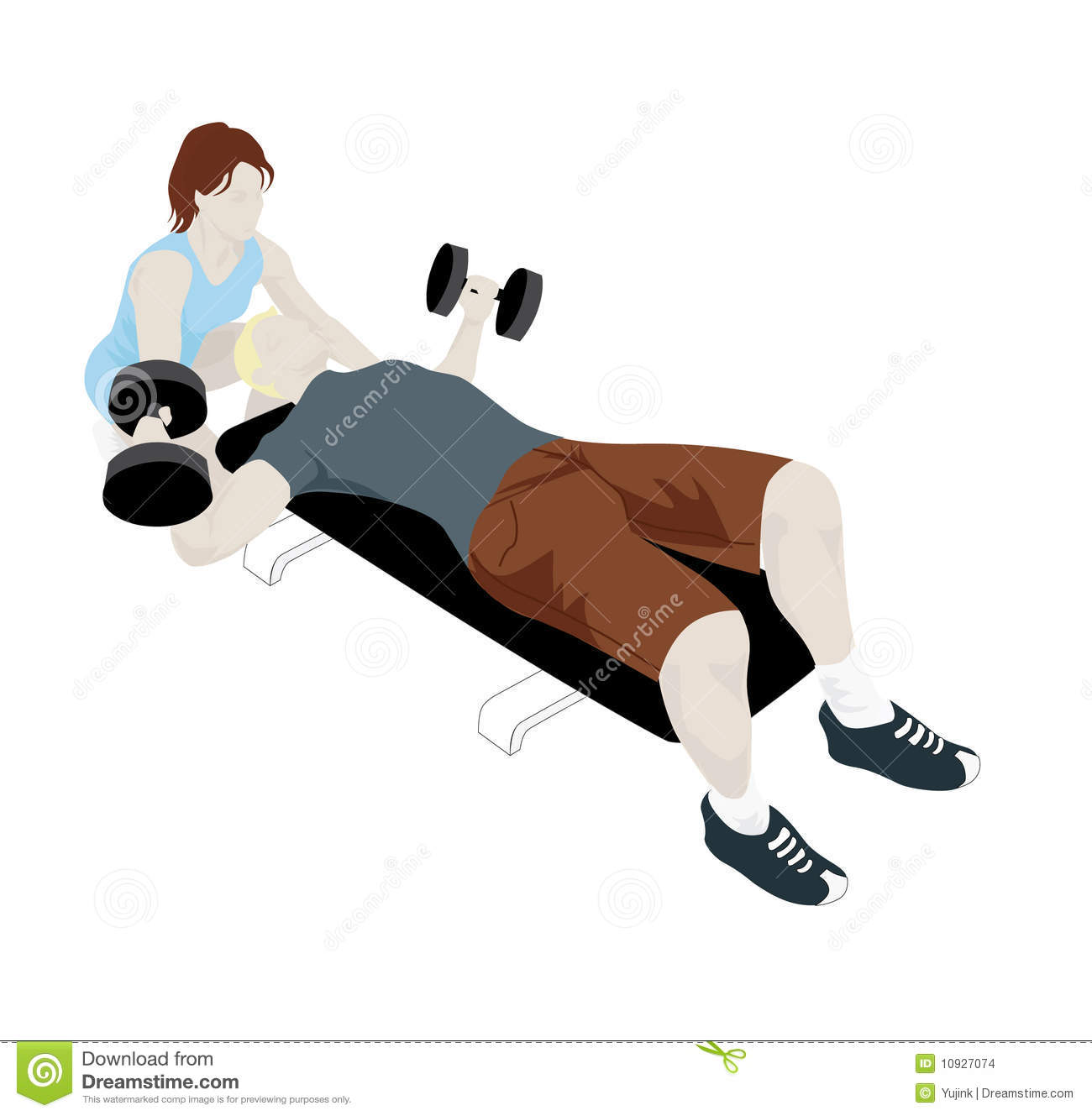 Female Personal Trainer Helping Her Client Stock Vector ...