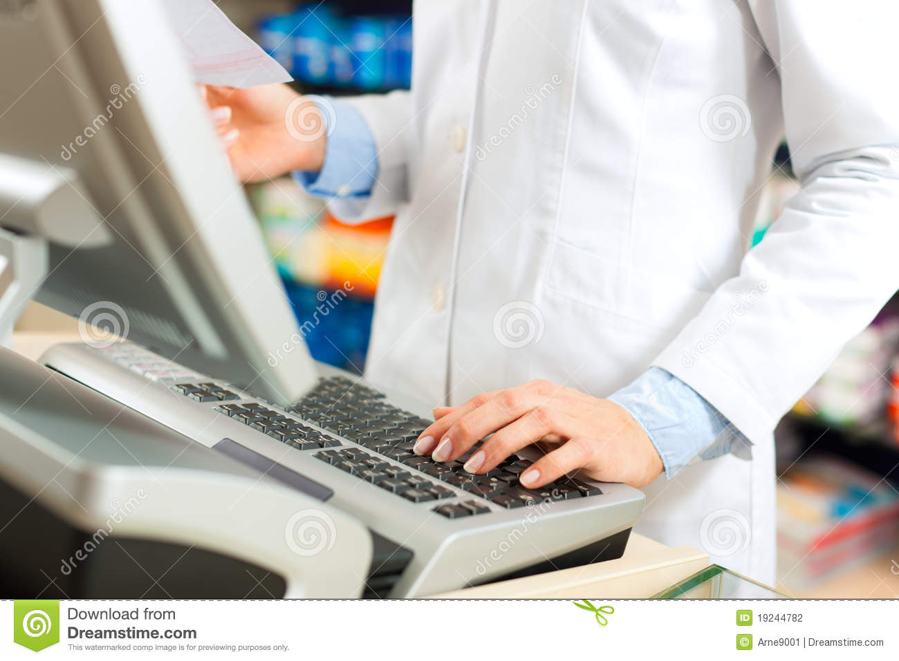 Female Pharmacist At The Cashier In Pharmacy Stock Photo Image Of