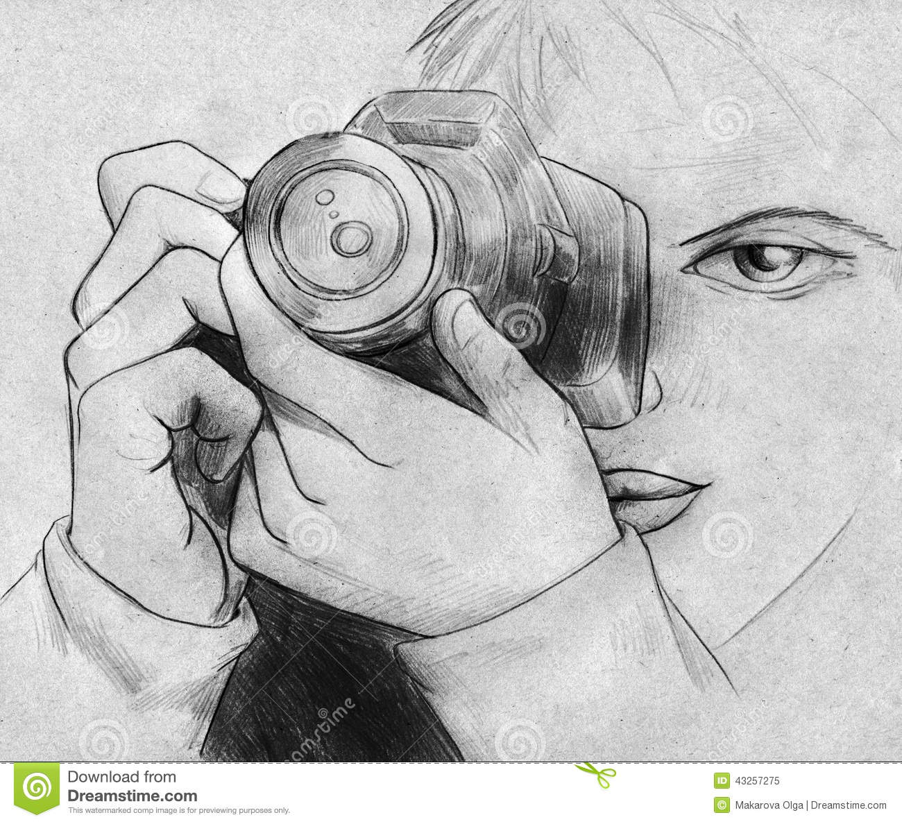 Hand drawn pencil sketch of a girl with camera taking pictures