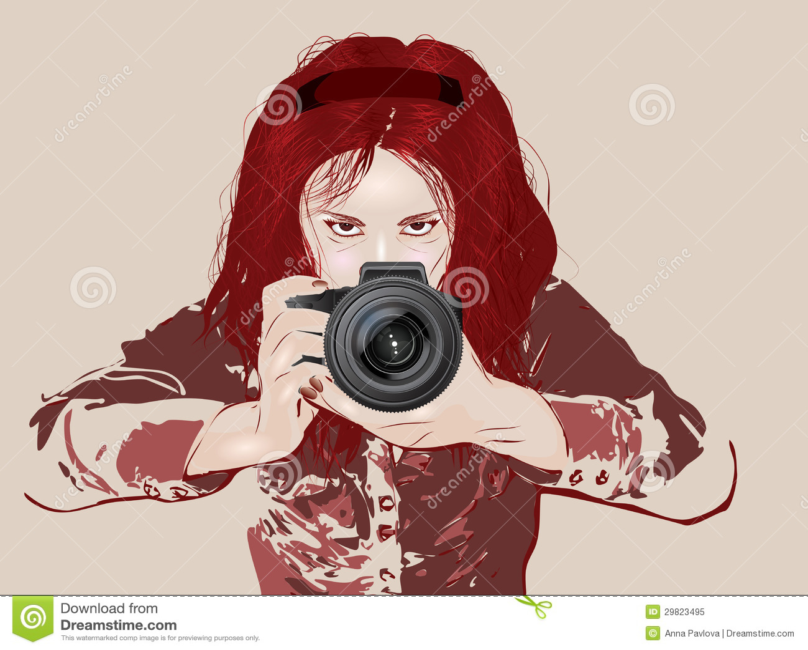 Grunge Camera Vector : Female photographer stock vector. illustration of cartoon 29823495