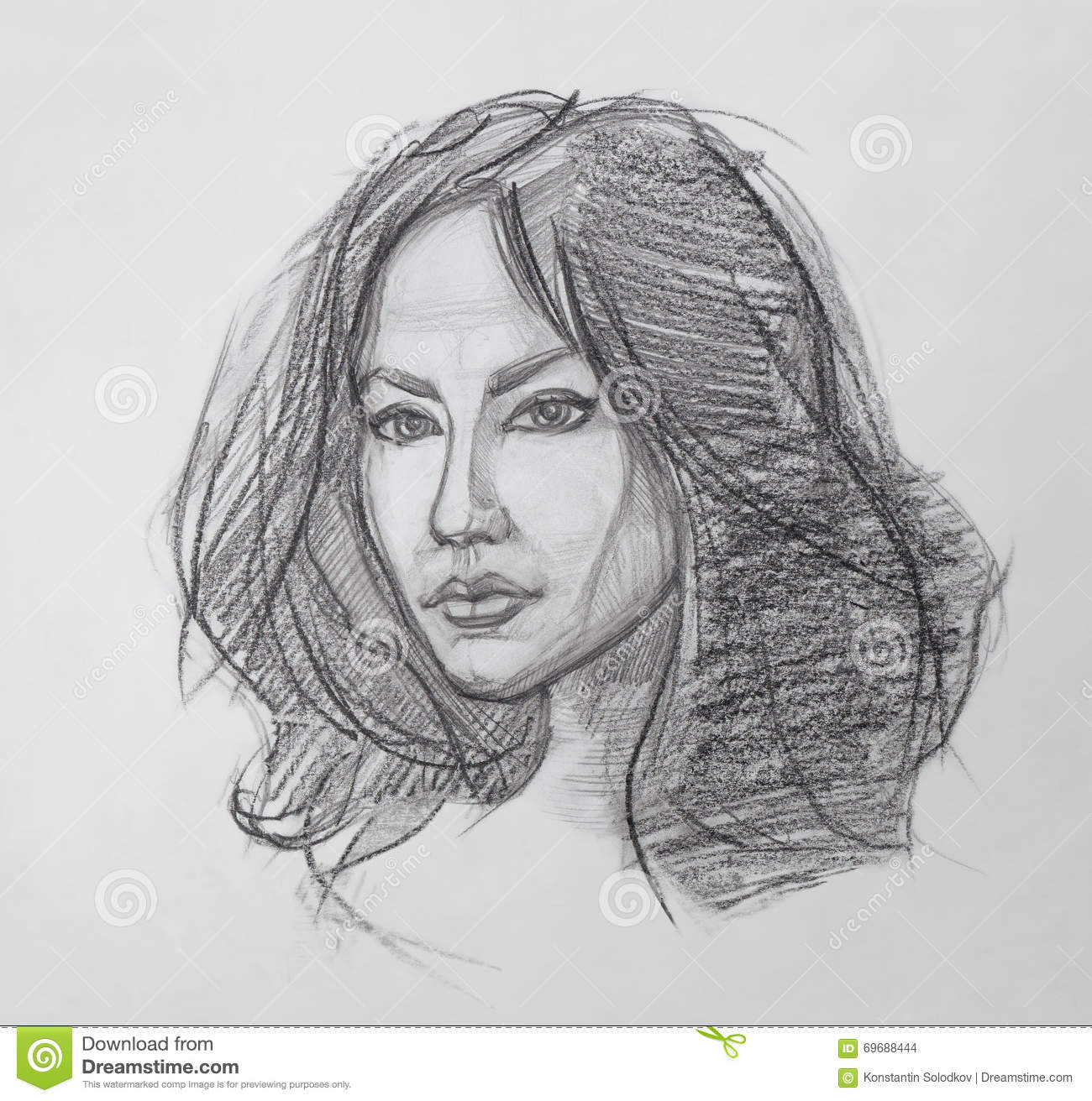 The fine art portrait of the young woman female face human head sketch hand drawing it is a pencil drawing
