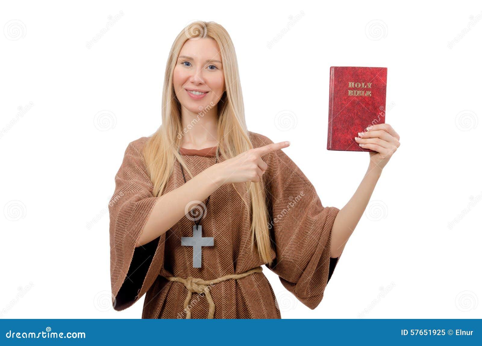 Female prayer isolated on the white