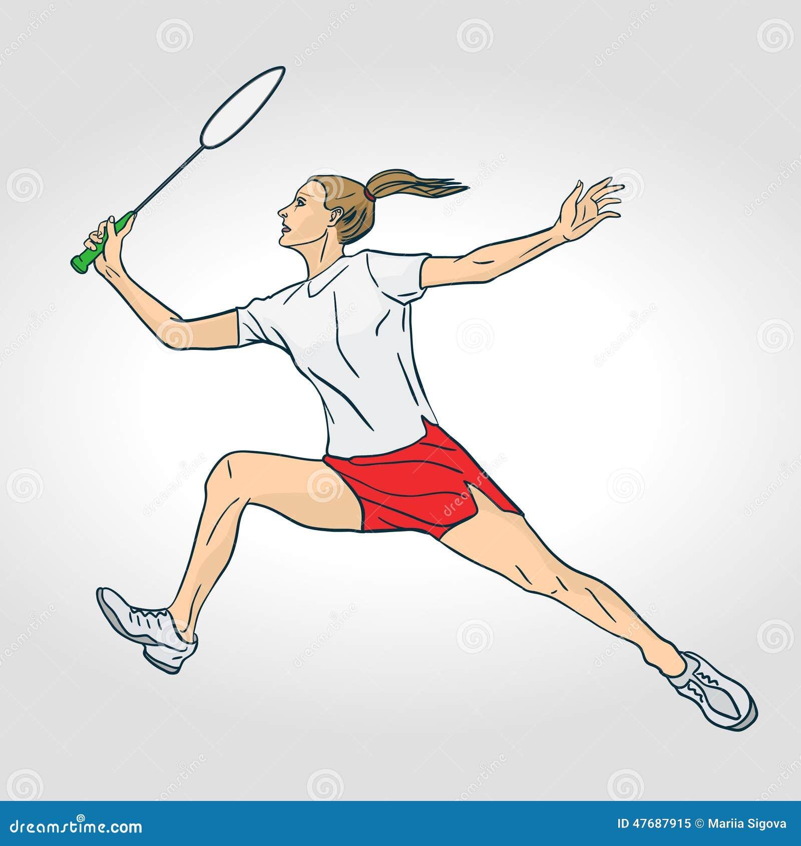 A female professional badminton player stock vector - Dessin raquette ...