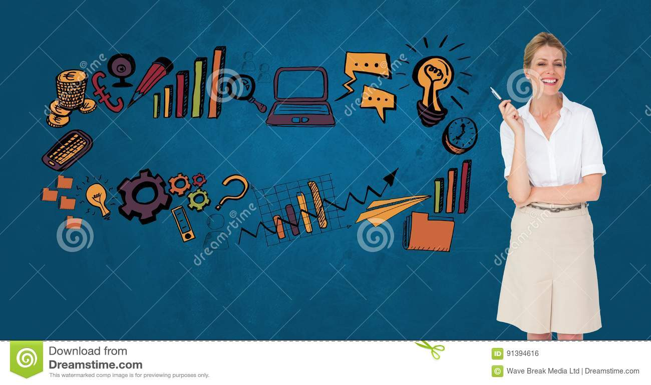 Female Professional Standing By Business Icons Stock Photo ...