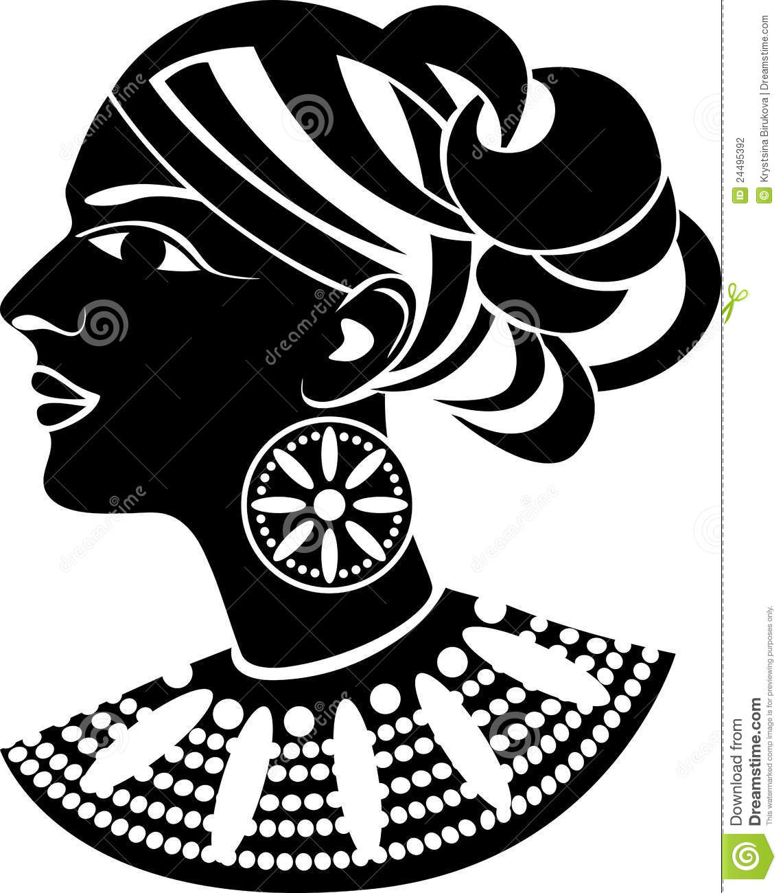 Female Profile In African Style Stock Illustration Image