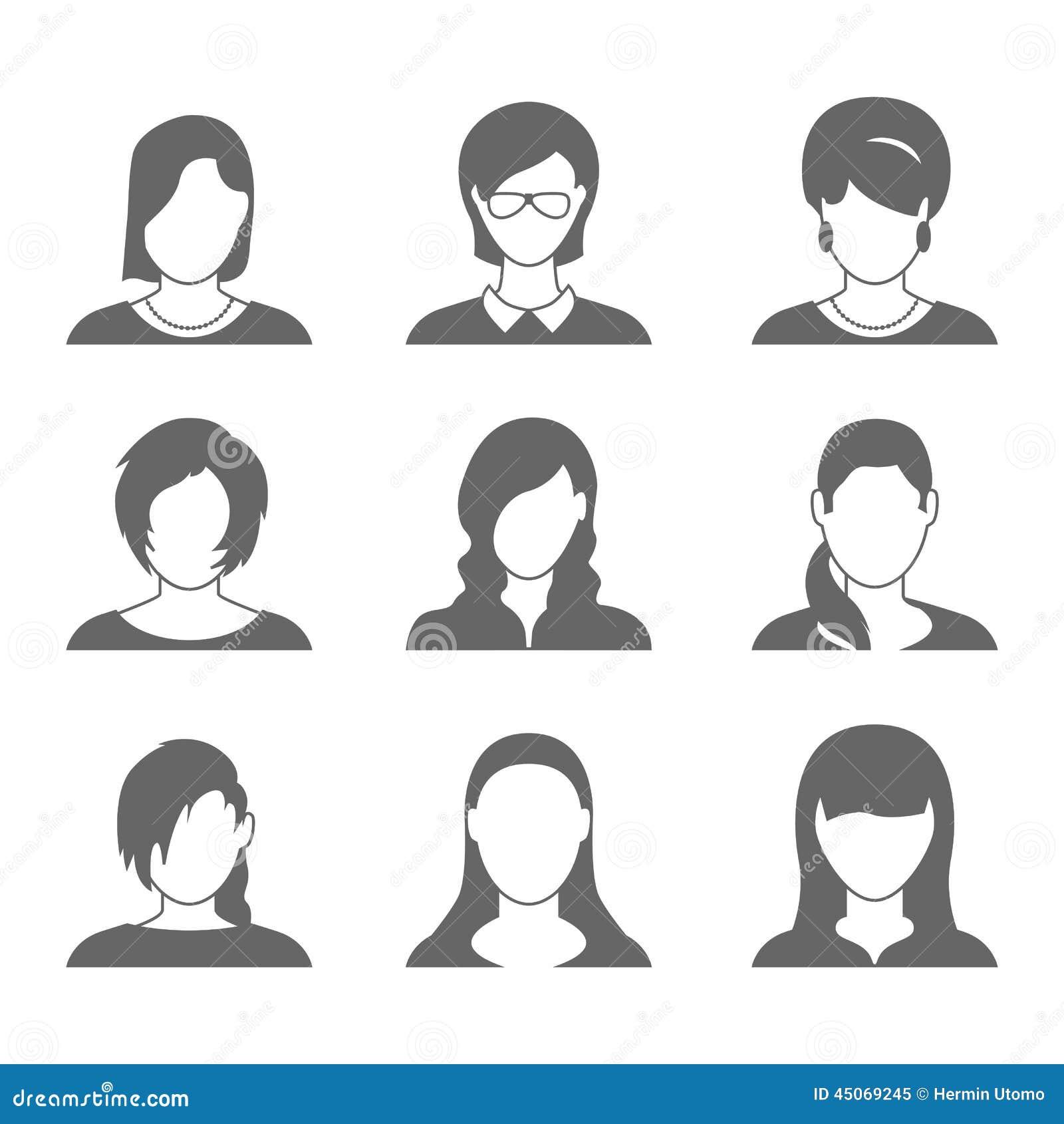 Female Profile Icons Stock Vector - Image: 45069245