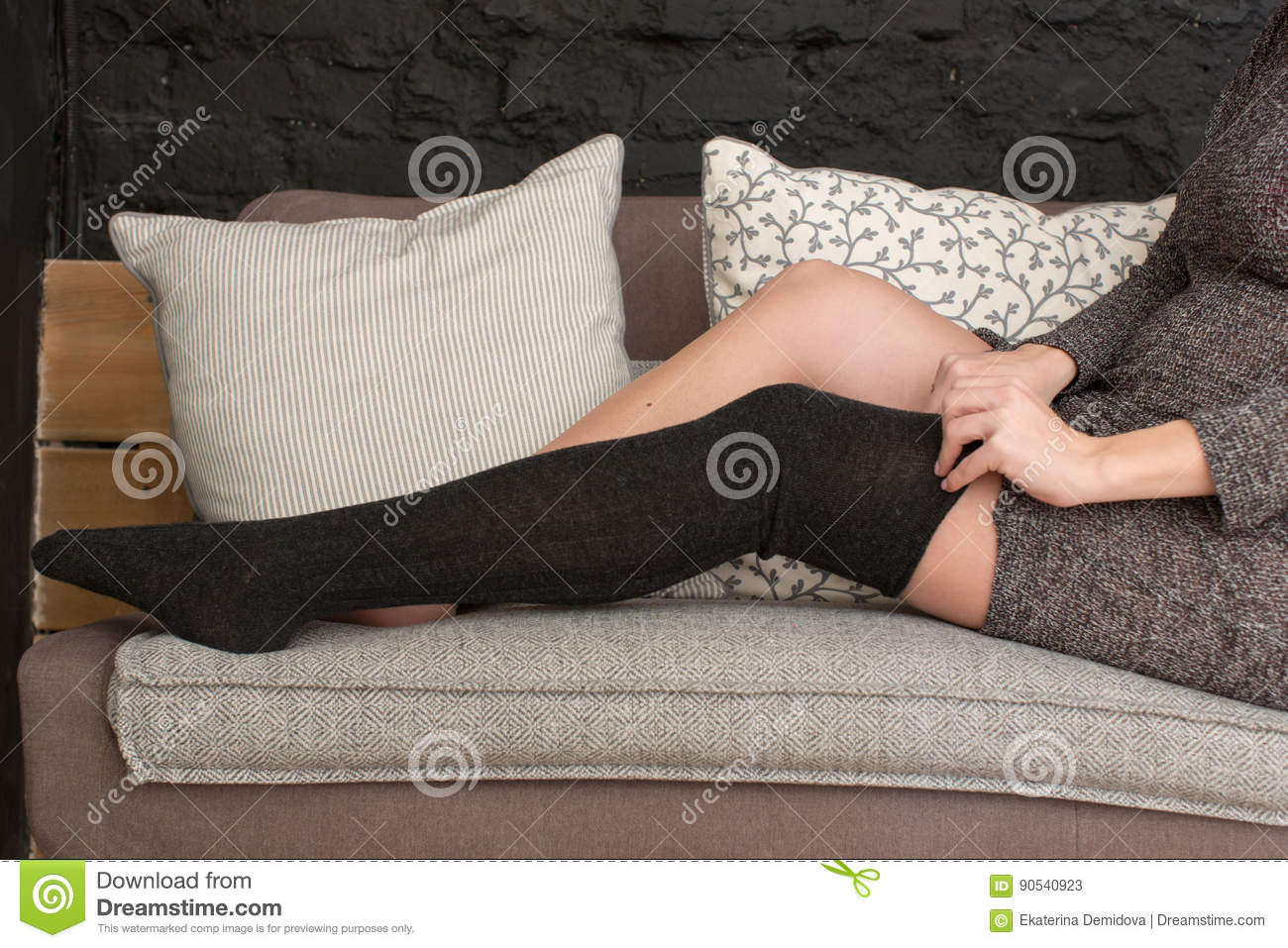 Wondrous Female Putting On Black Stockings Stock Image Image Of Cjindustries Chair Design For Home Cjindustriesco