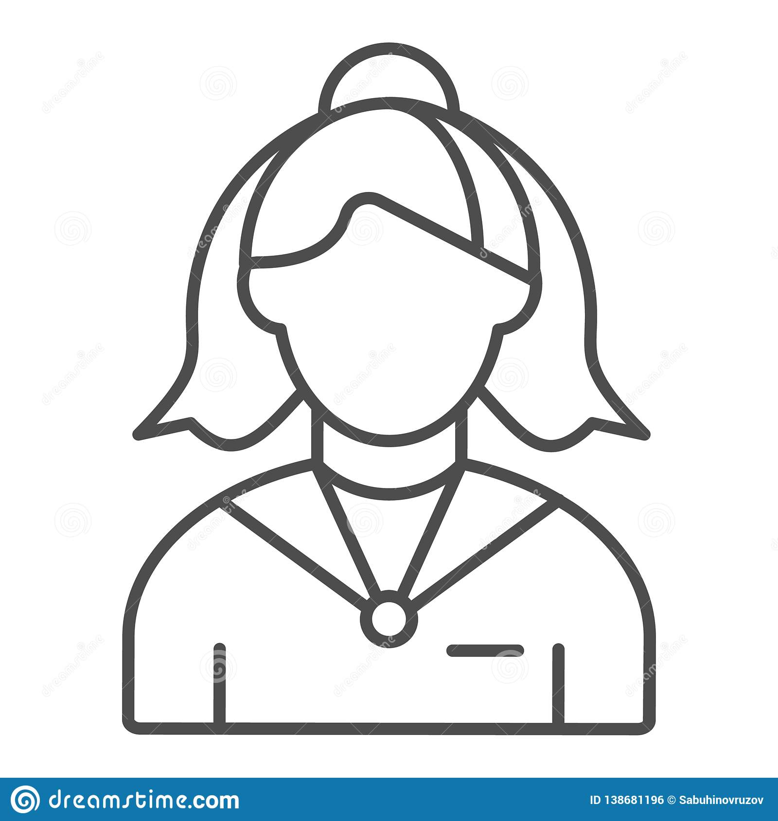 Female receptionist thin line icon. Administrator vector illustration isolated on white. Woman assistant outline style