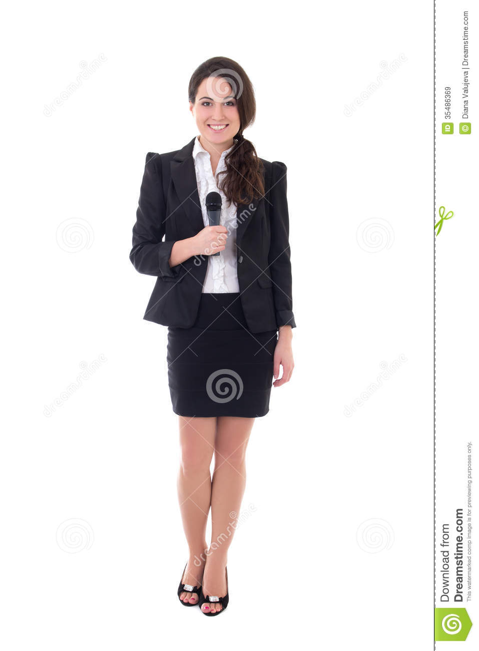 Female Reporter With Microphone Isolated On White Royalty