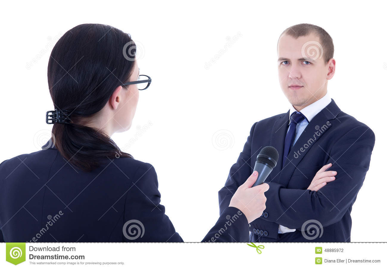 female reporter microphone taking interview and business ma female reporter microphone taking interview and business ma