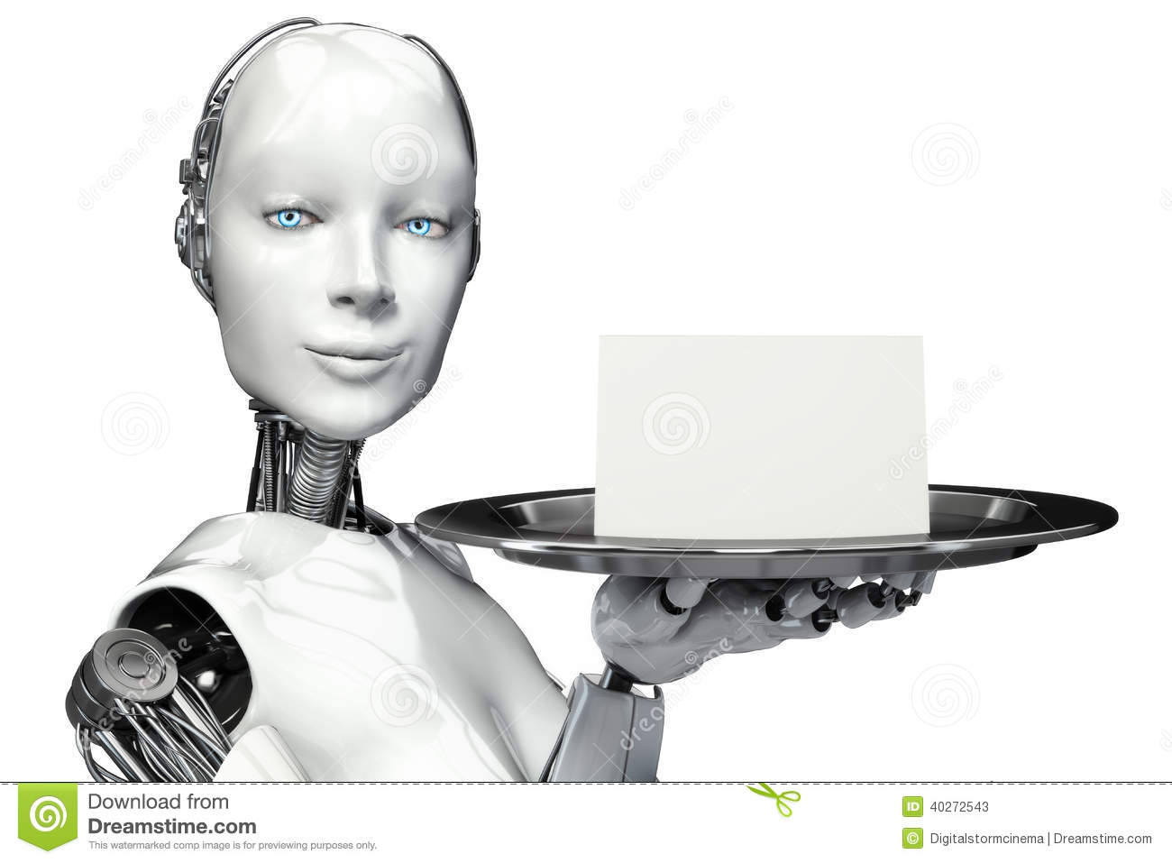 Female Robot Holding A Serving Tray With A Blank Card Advertisement ...