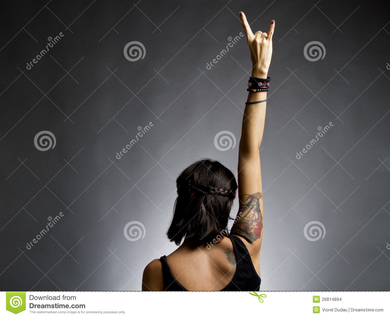 Female rocker with arm in air
