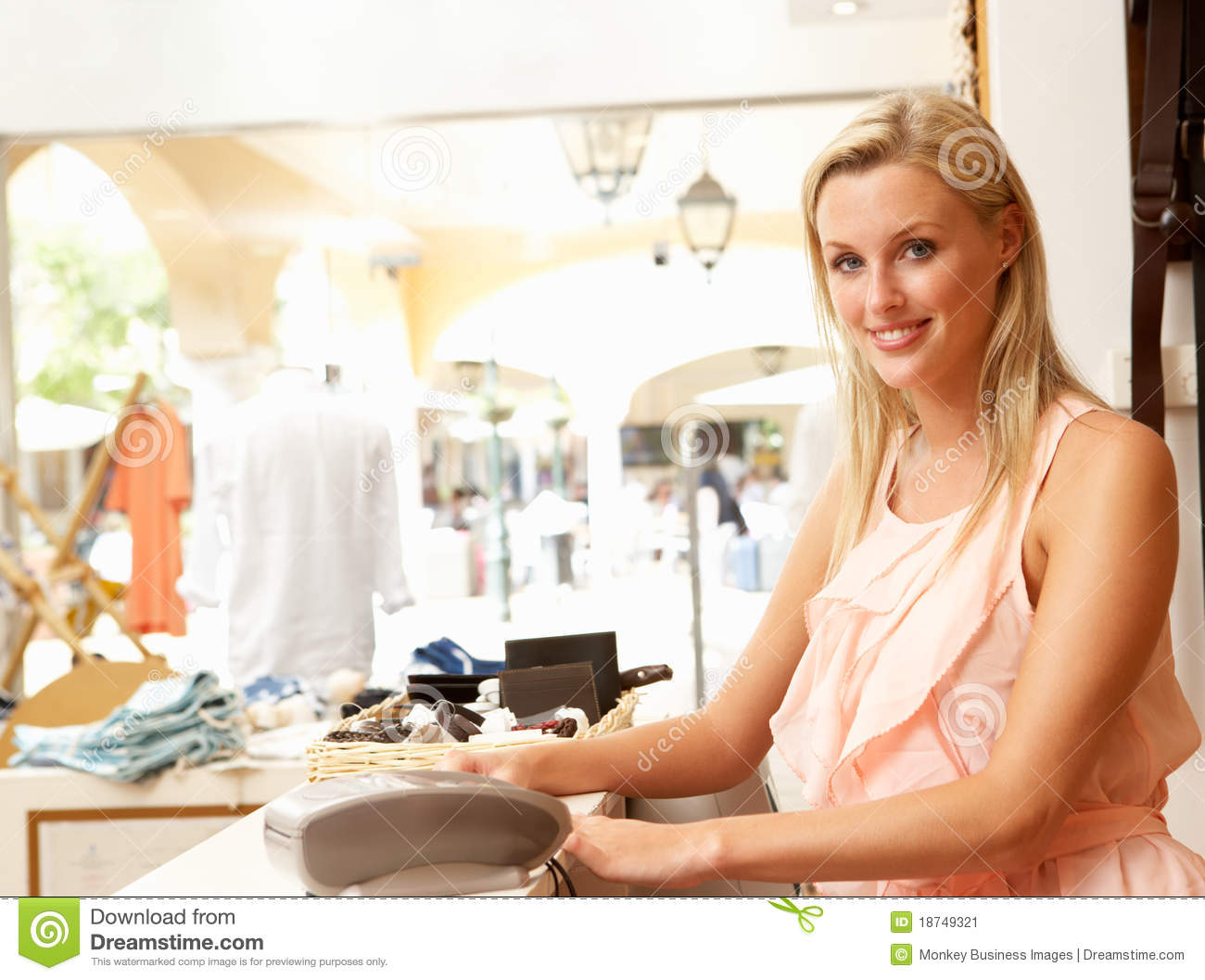 female s assistant in clothing store stock image image  female s assistant in clothing store