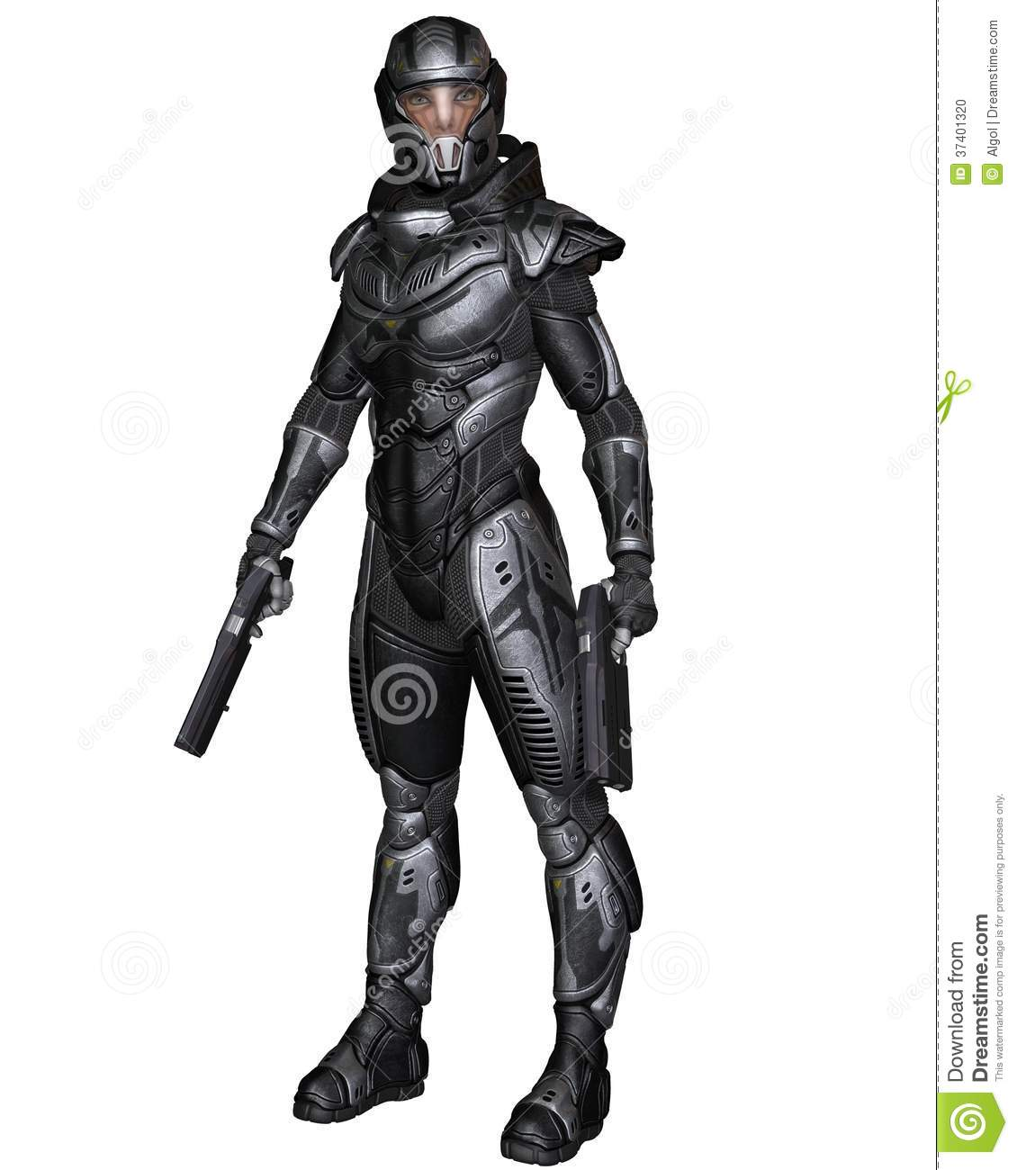 Female futuristic science fiction soldier in protective armoured space ...