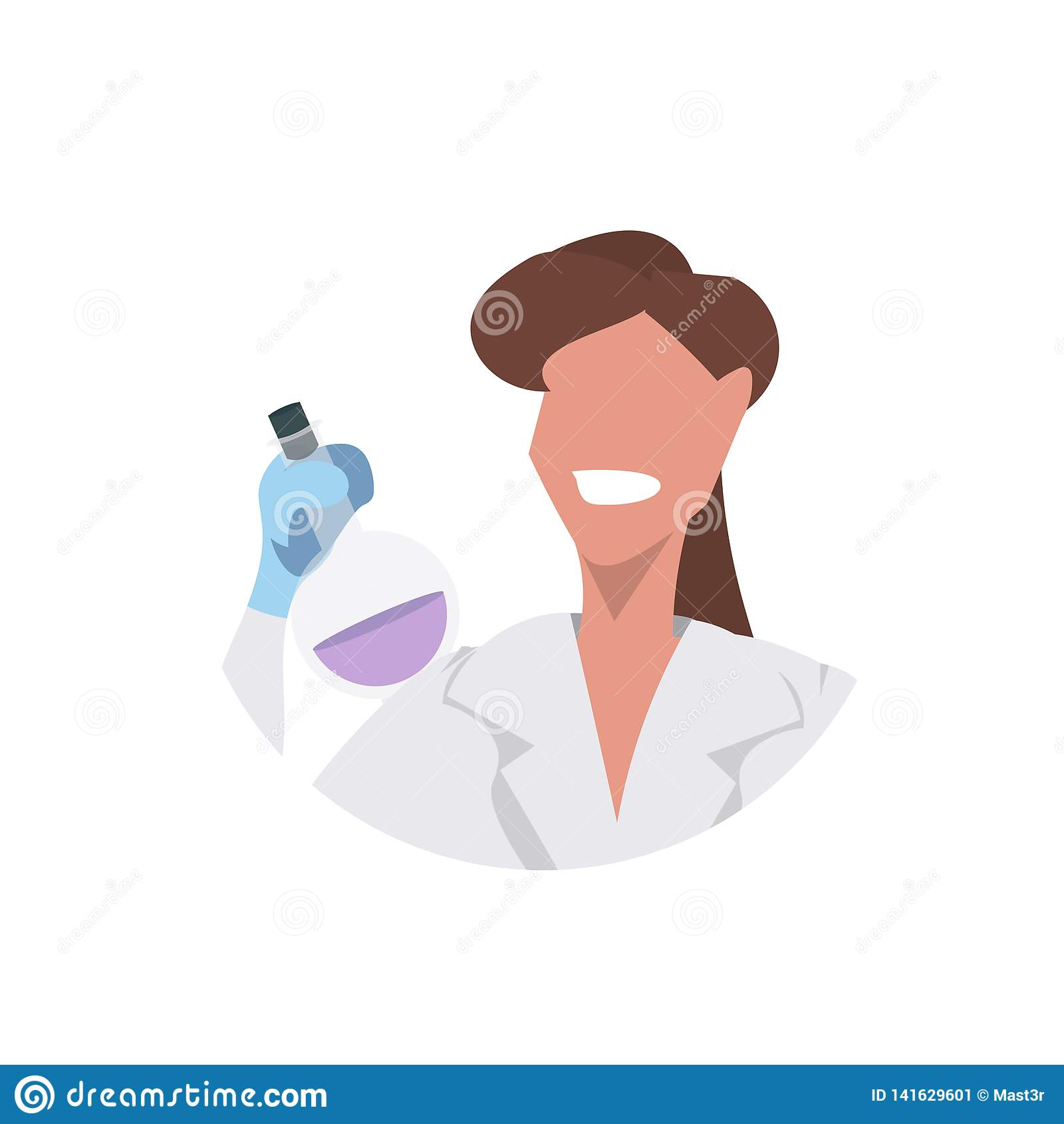 Female Scientist Holding Test Tube Face Avatar Woman Laboratory Technician In White Uniform Medical Worker Professional Stock Vector Illustration Of Laboratory Lifestyle 141629601