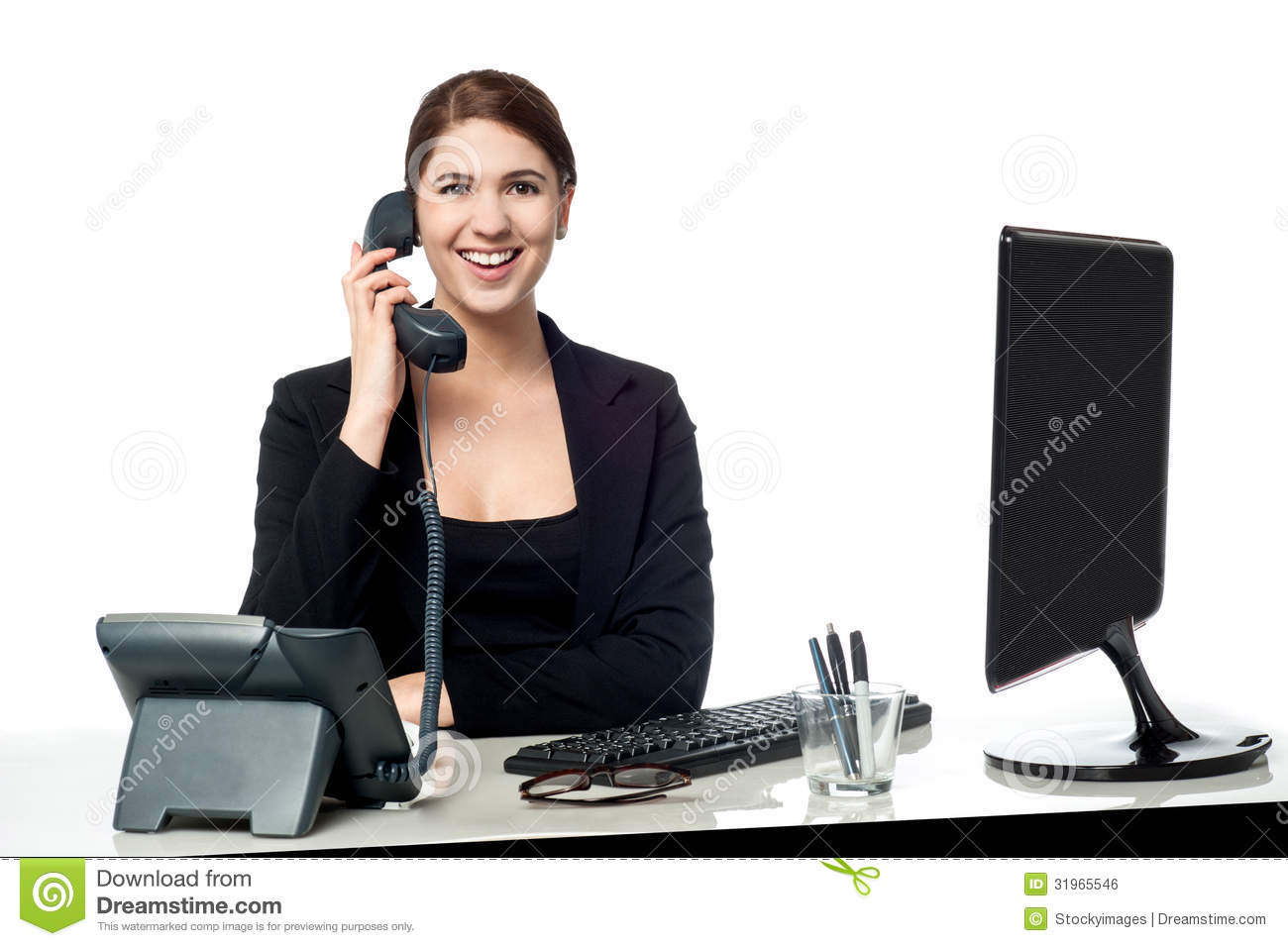 Female Secretary Answering Phone Call Royalty Free Stock