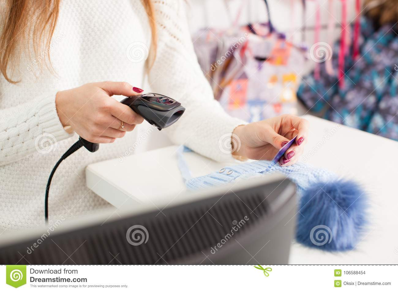 Seller Holding Barcode Scanner In A Hand Stock Photo - Image