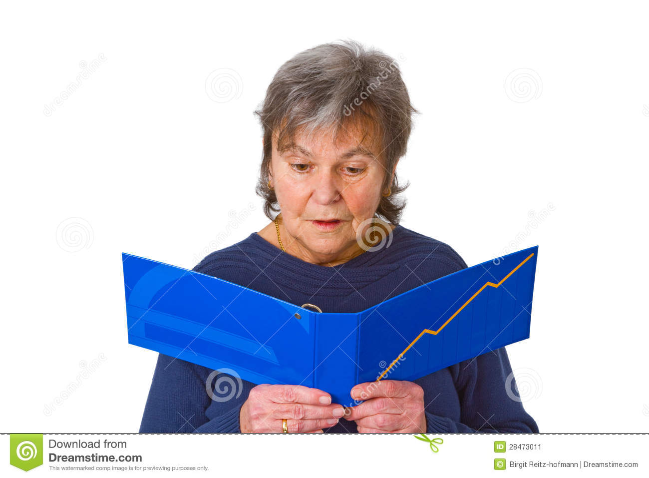 Female senior looking at statement of account