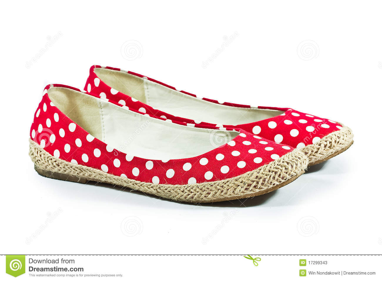 Red female shoes on white