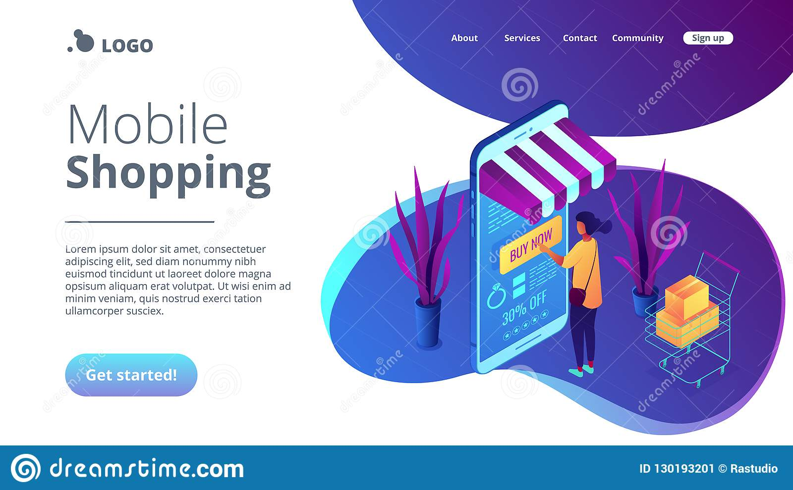 Online Purchase Concept Isometric 3D Landing Page  Stock Vector