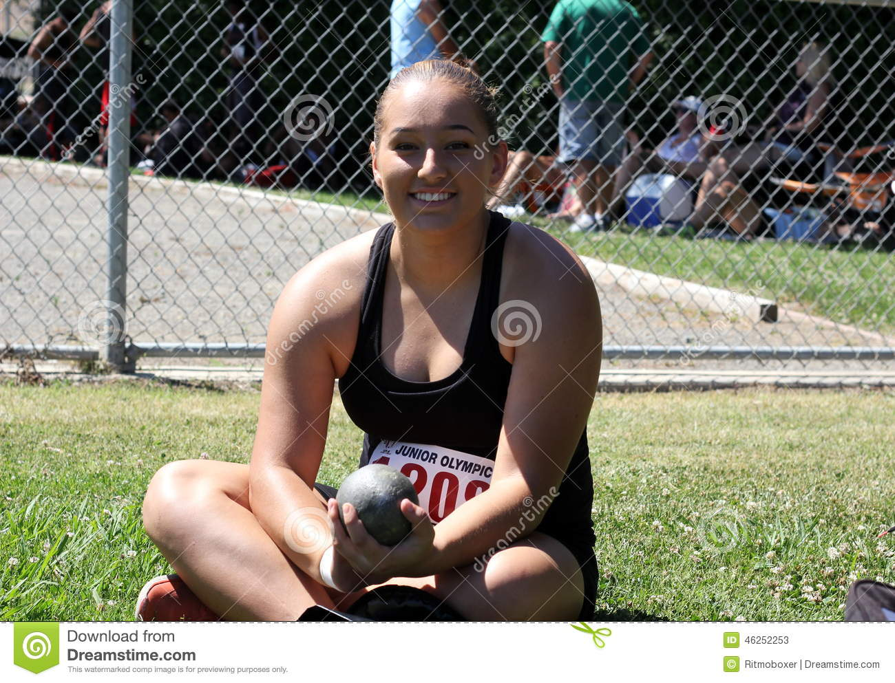 Female shot put athlete waiting to compete editorial stock for Alexander holland