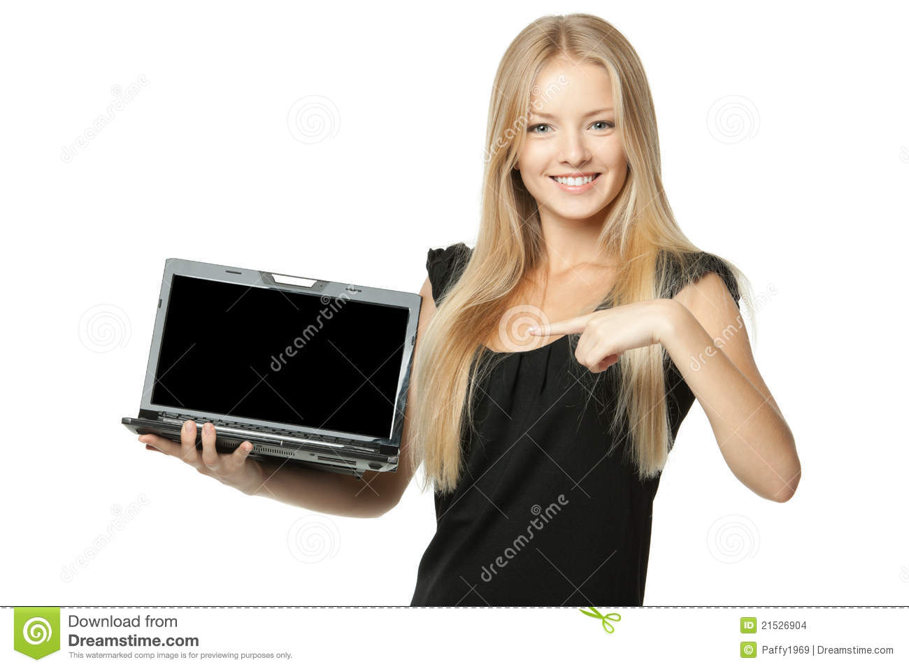 Female showing copy space at laptop screen