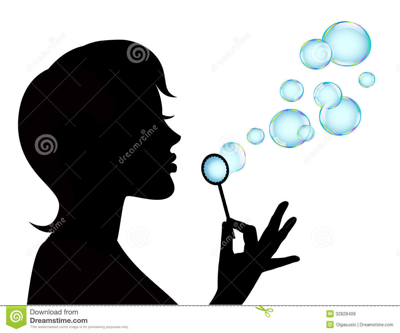 Female Silhouette And Soap Bubbles Royalty Free Stock ...