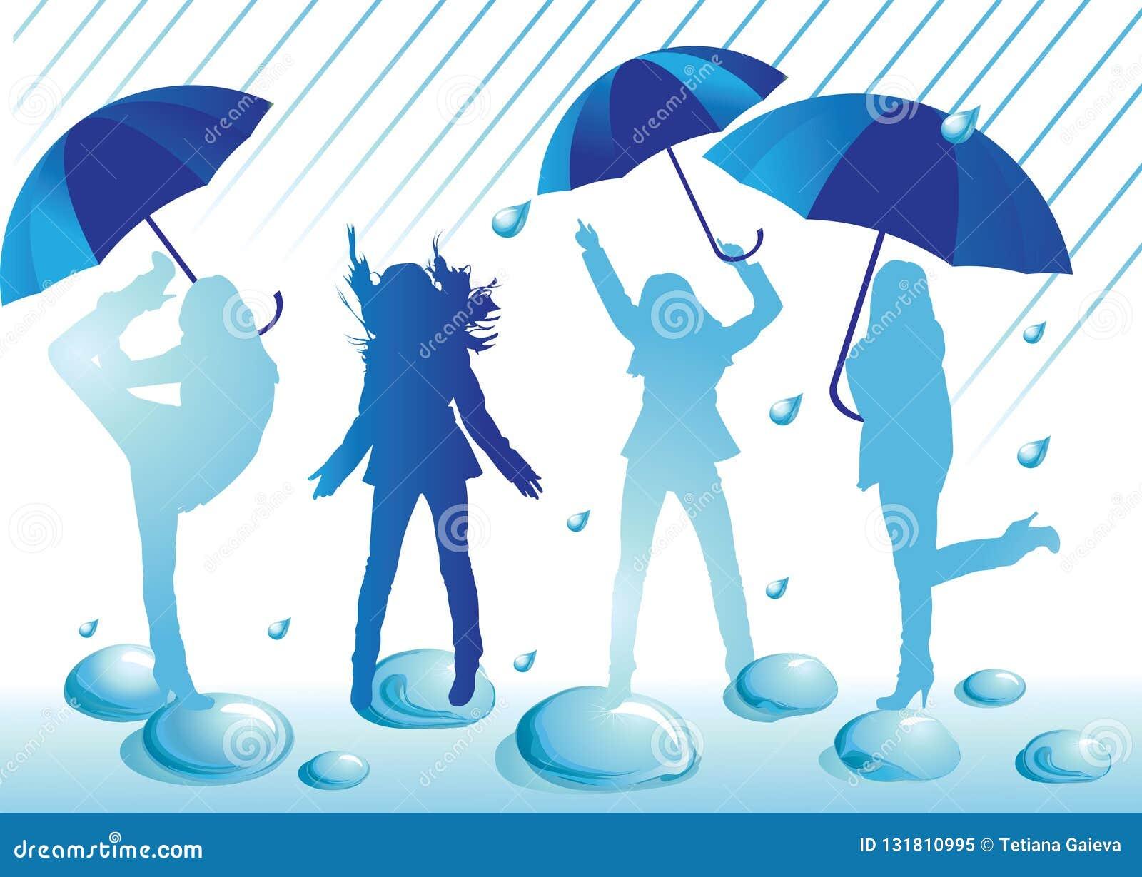 Female silhouettes having fun under the open umbrellas in the rain.