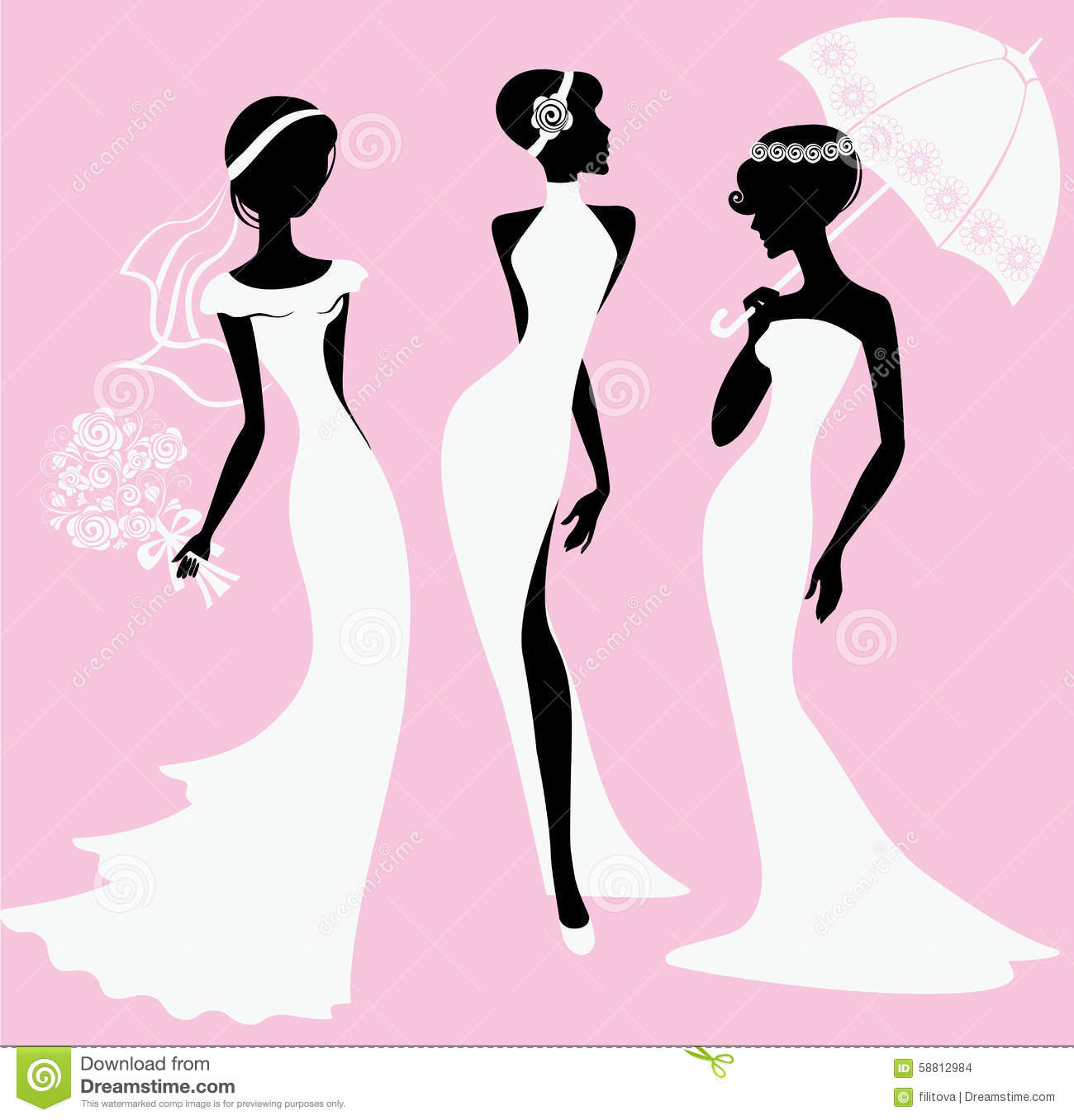 female silhouettes in wedding dresses stock vector illustration of
