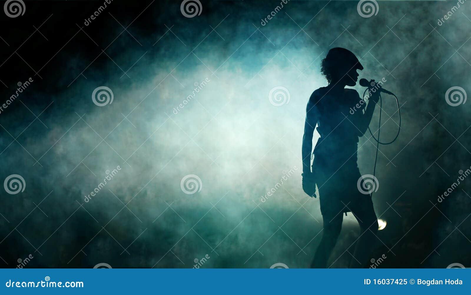 Female singer in smoke royalty free stock photo image 16037425