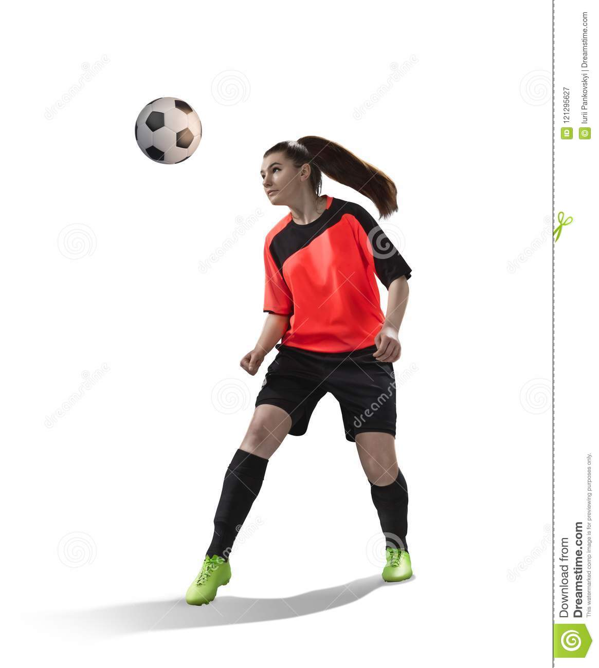 Female soccer making a header