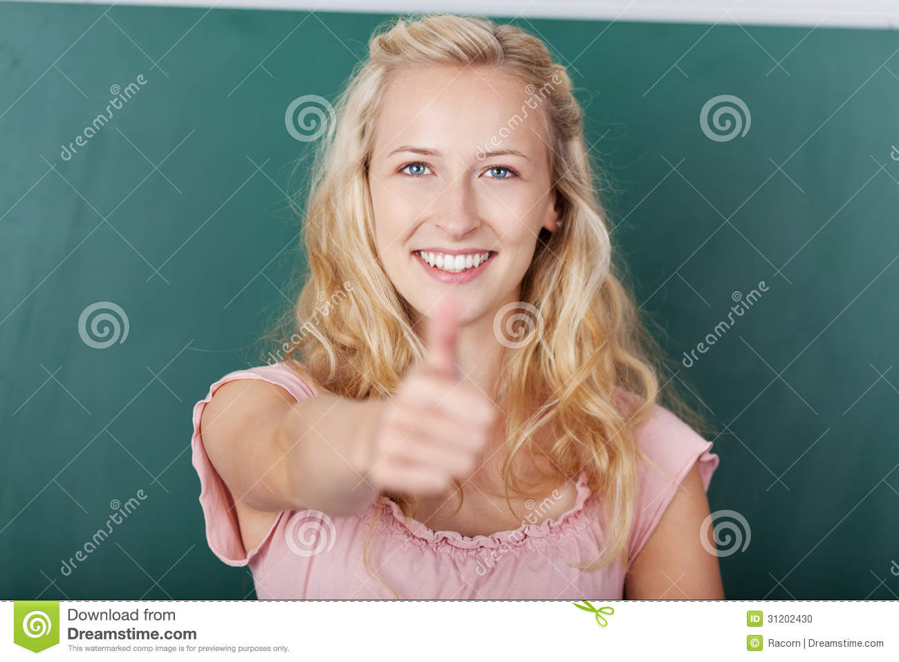 Female STudent Showing Thumbs Up Sign