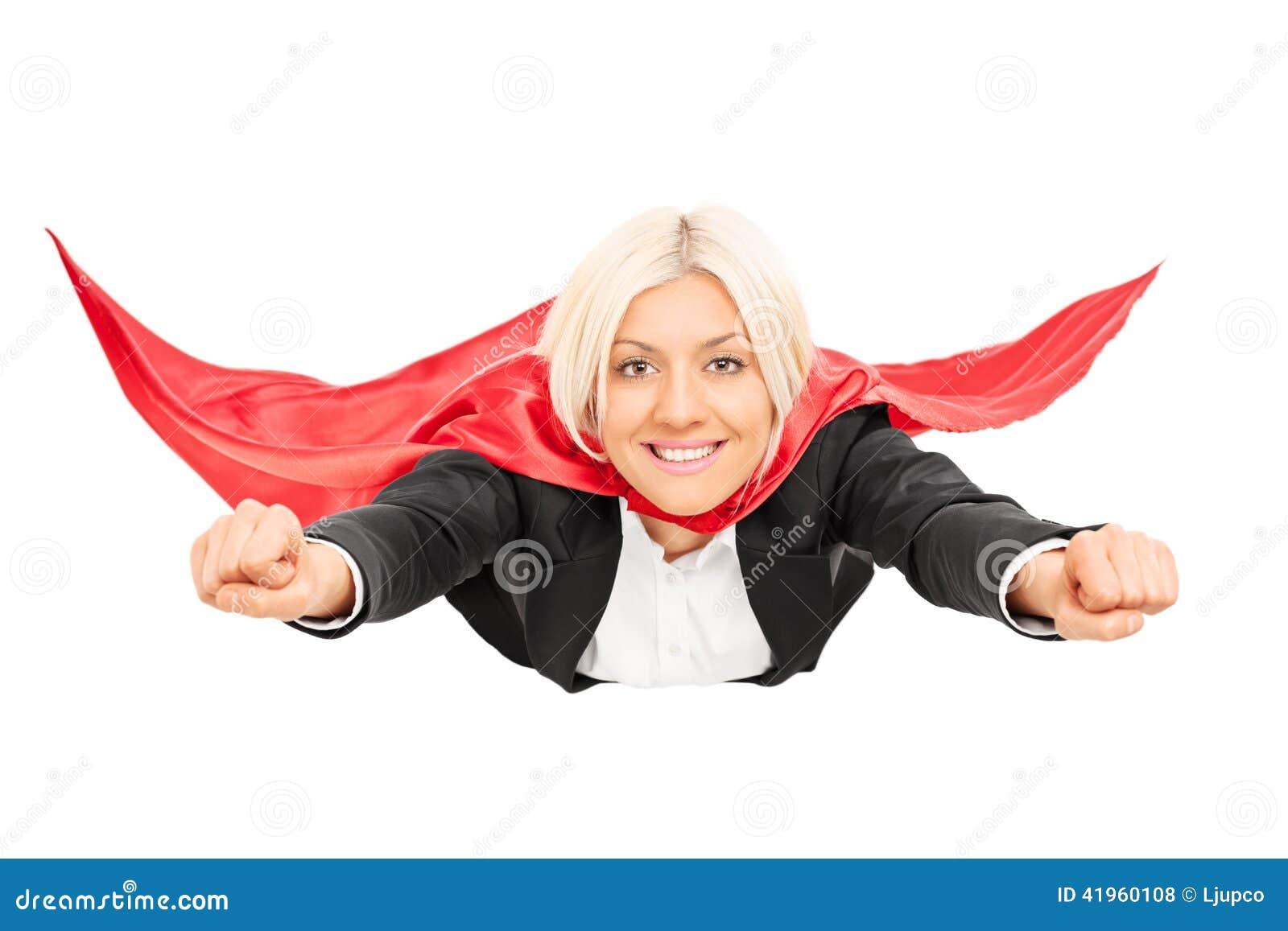 Female Superhero Flying Isolated On White Background Stock