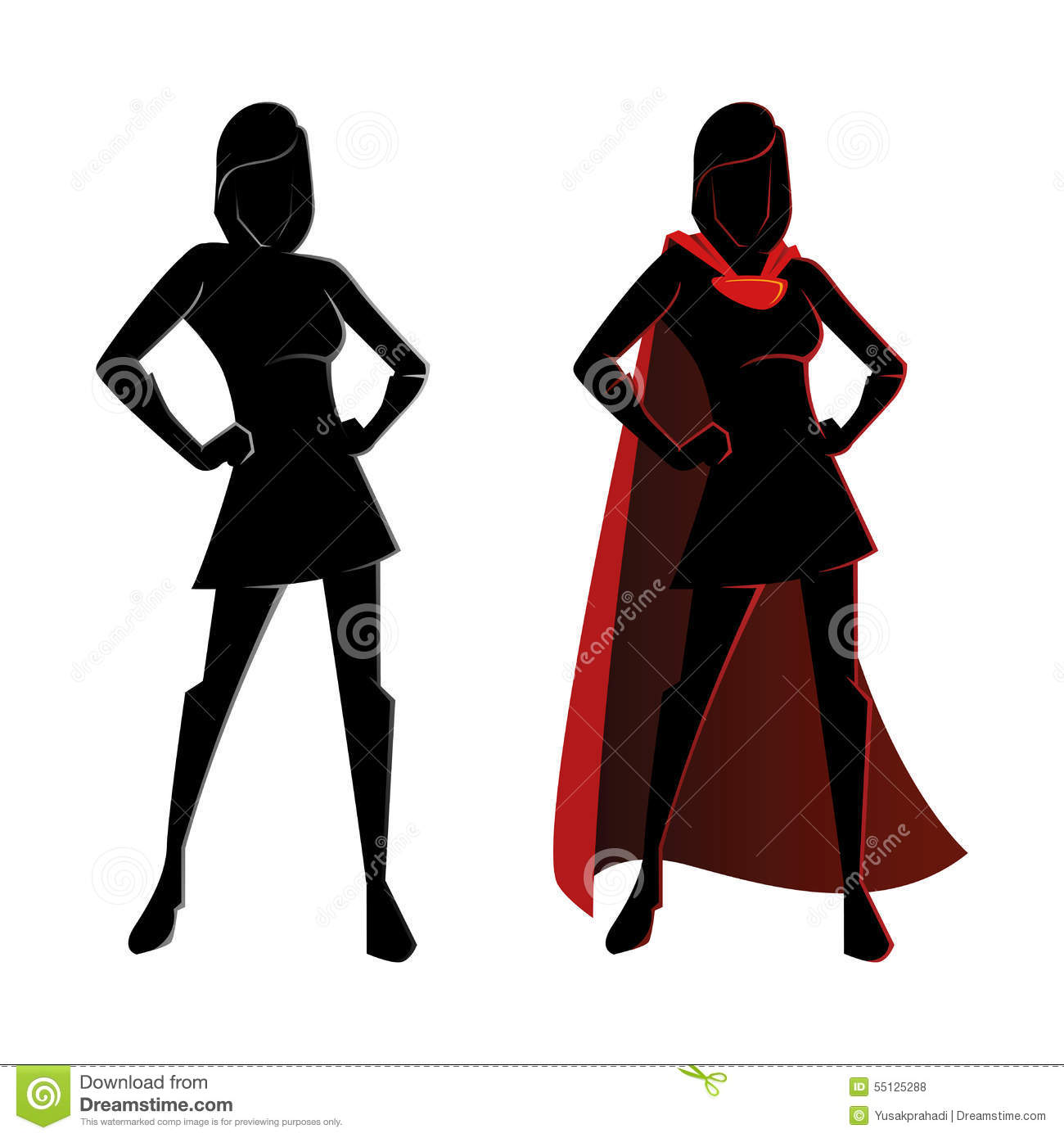 Female Superhero Silhouette Stock Vector - Image: 55125288