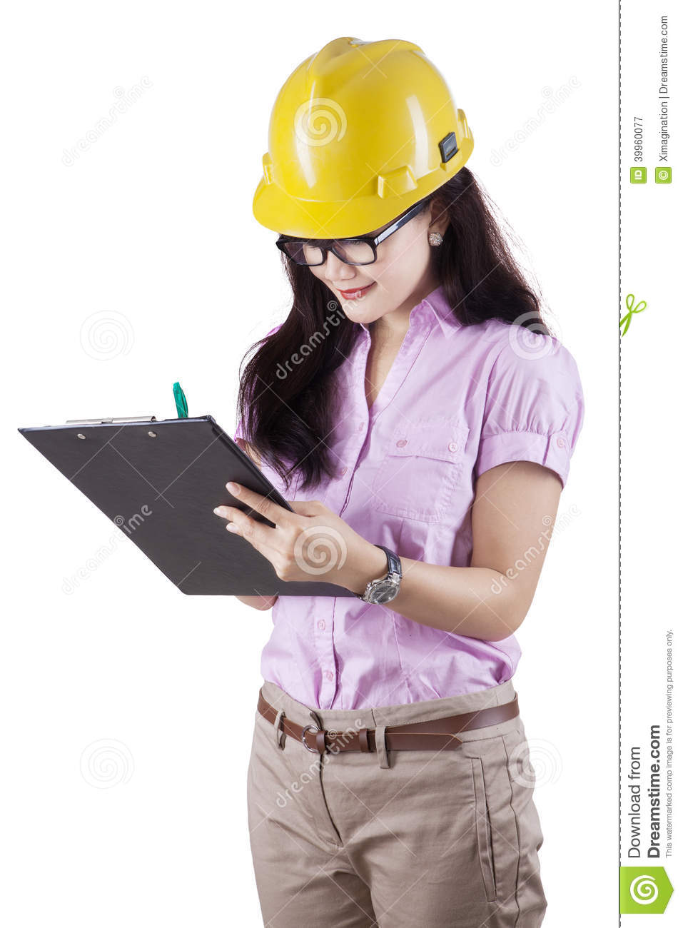 Female Supervisor Making Checklist Stock Photo - Image: 39960077