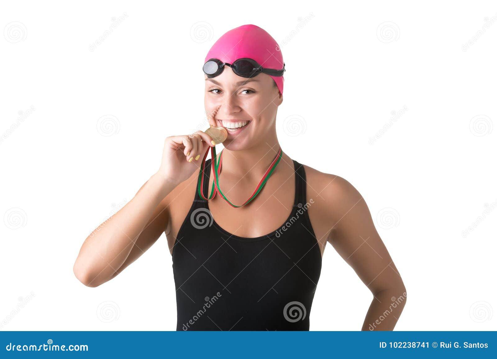 Female Swimmer Biting Medal