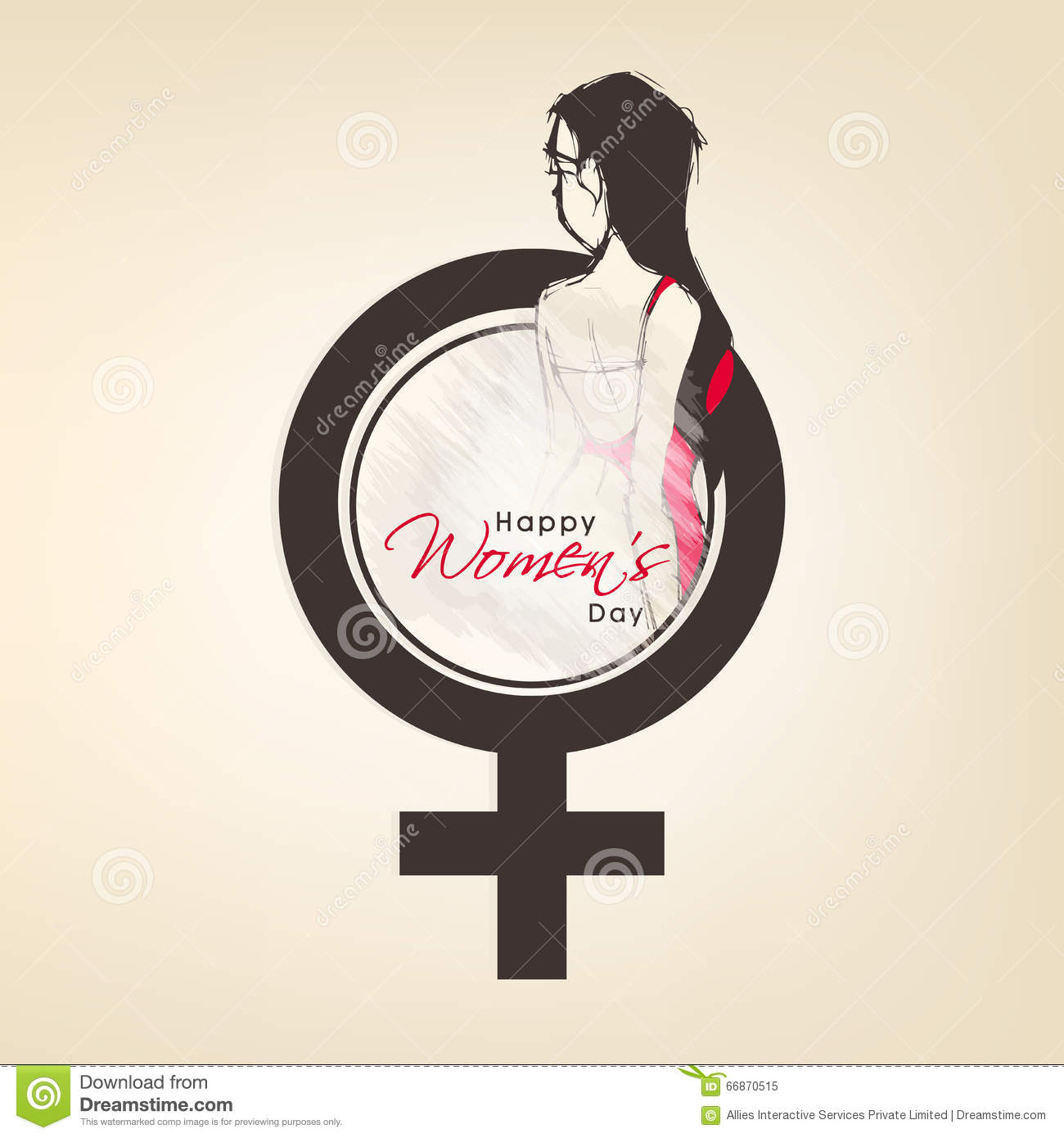 Female Symbol With Girl For Womens Day Concept Stock Illustration