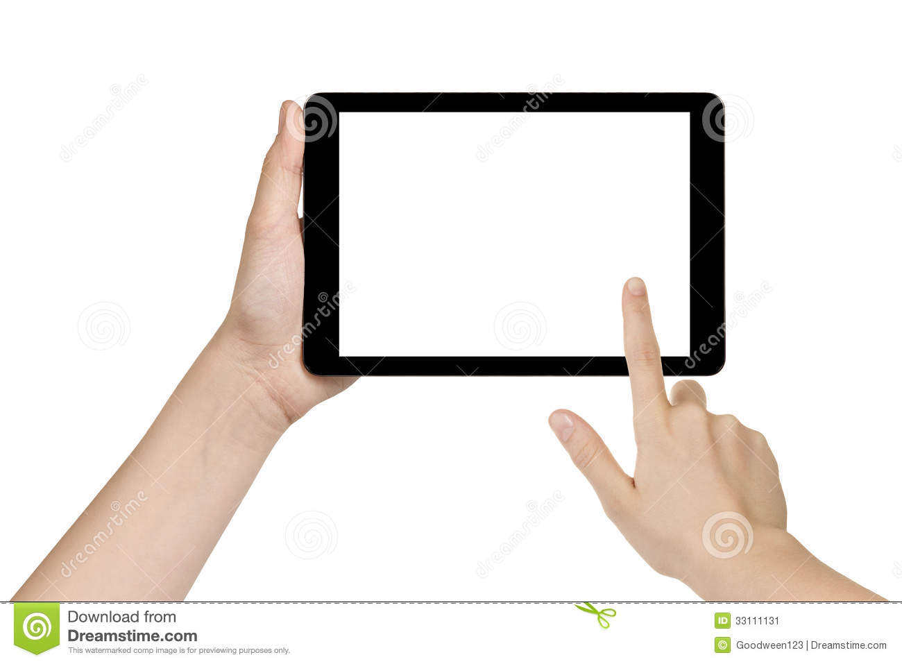 Female Teen Hand Holding Generic Tablet Stock Image