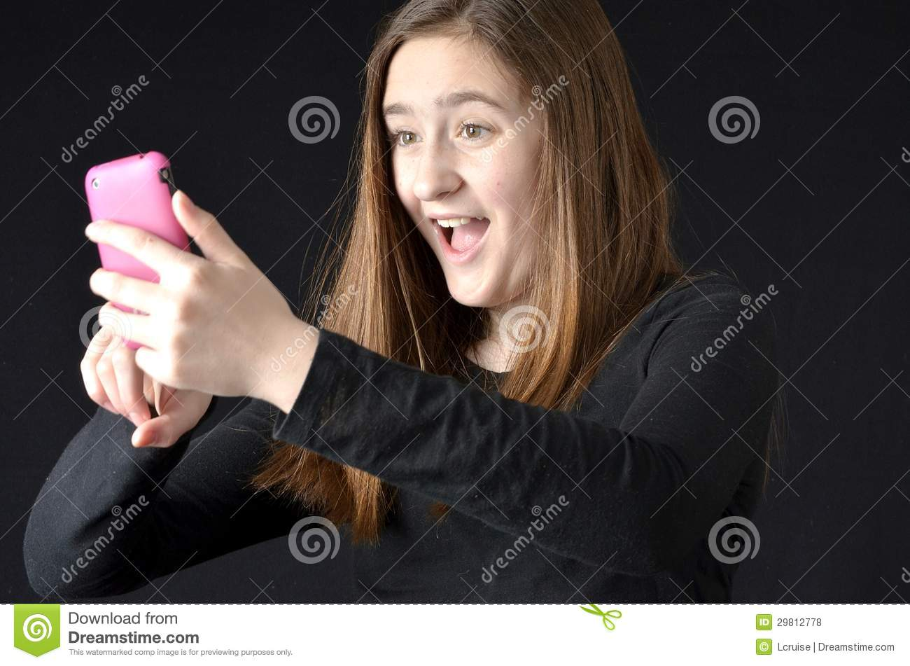 With Pink Cell Phone Wearing Black Shirt Background