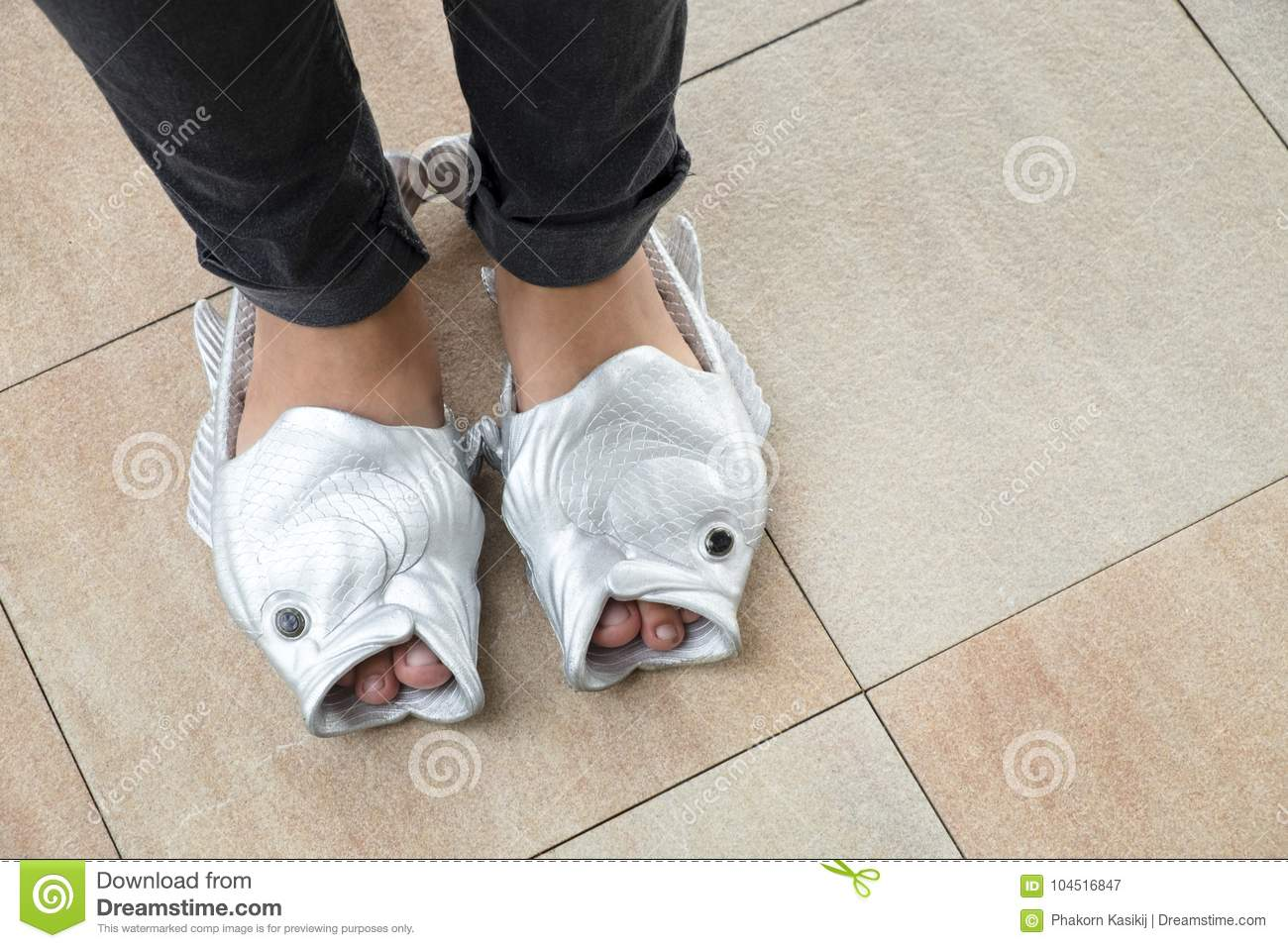 Female Teenager With A Weird Fish Sandal Girls New Style Fashion