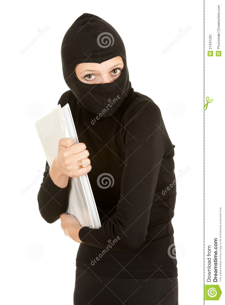 Female Thief Steal Documents Stock Image Image 21341291