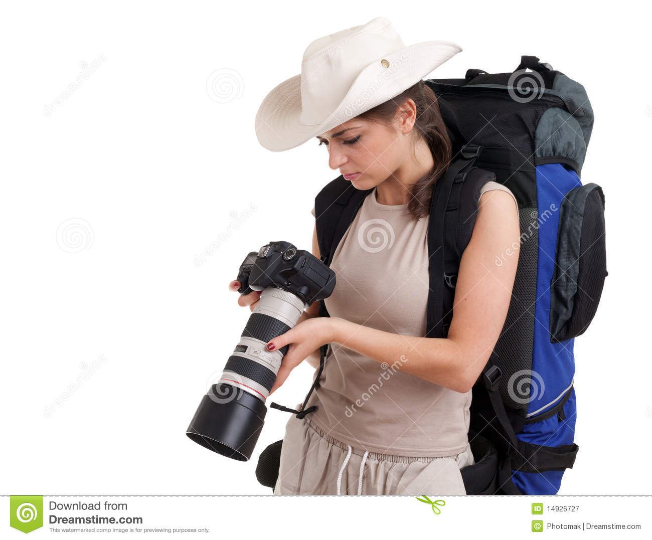 Female Tourist With Backpack And Digital Camera Royalty