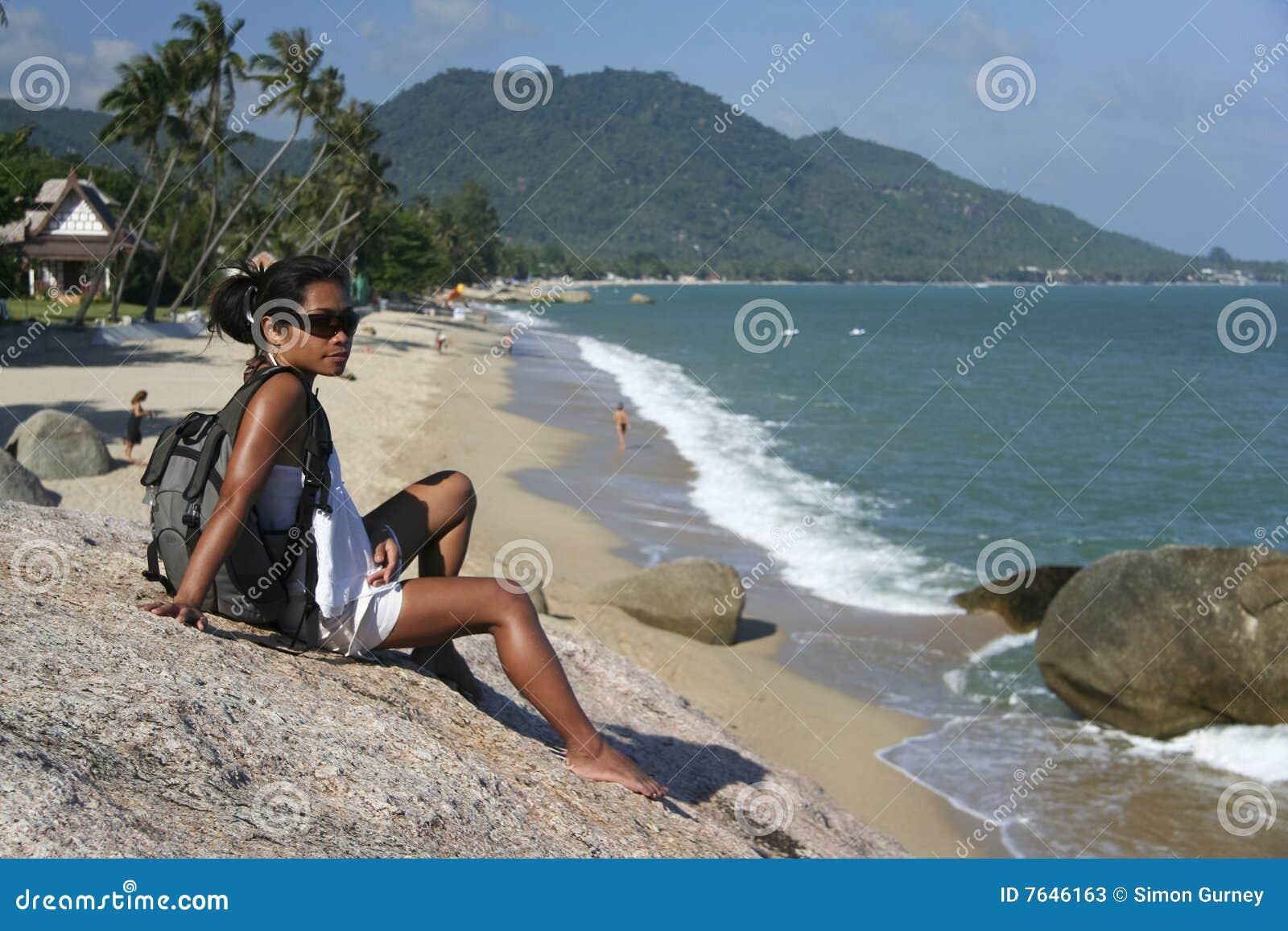 female tourist Lamai beach koh samui