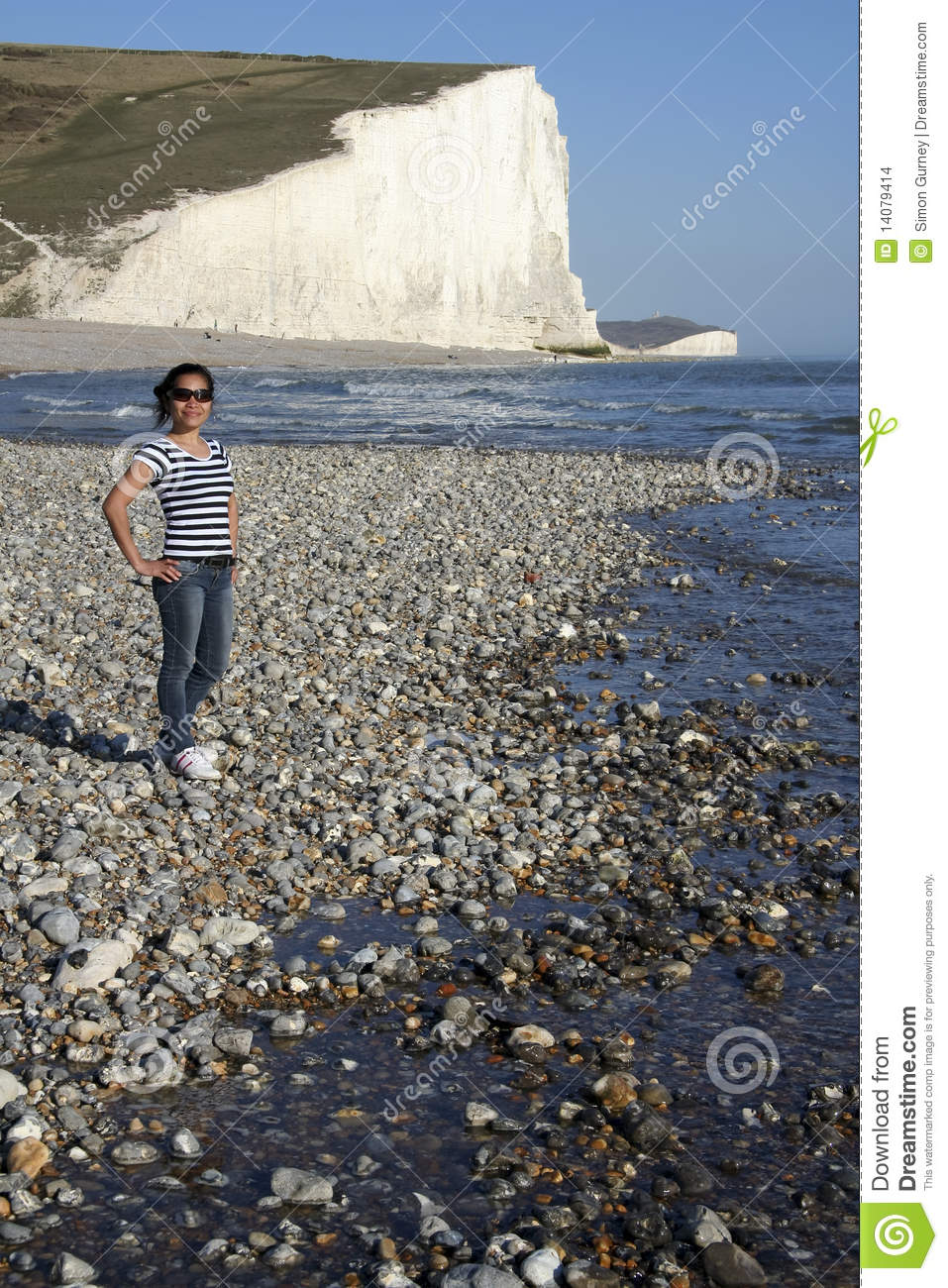 Female tourist seven sisters beach england